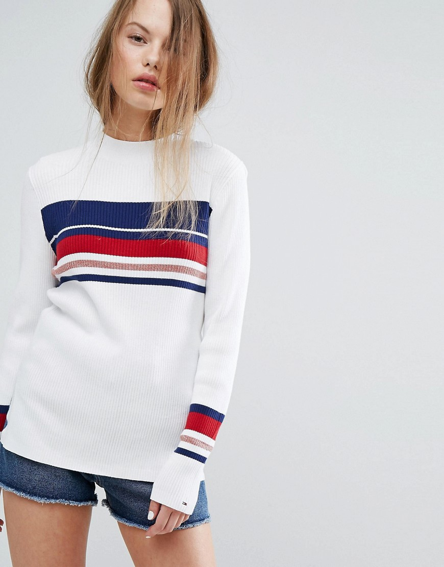 Tommy Hilfiger Denim High Neck Striped Knit Jumper - Blue /white