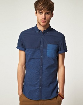 Image 1 ofRiver Island Dark Blue Half Stripe Shirt