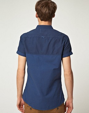 Image 2 ofRiver Island Dark Blue Half Stripe Shirt