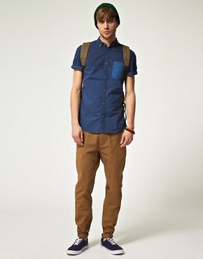 Image 4 ofRiver Island Dark Blue Half Stripe Shirt