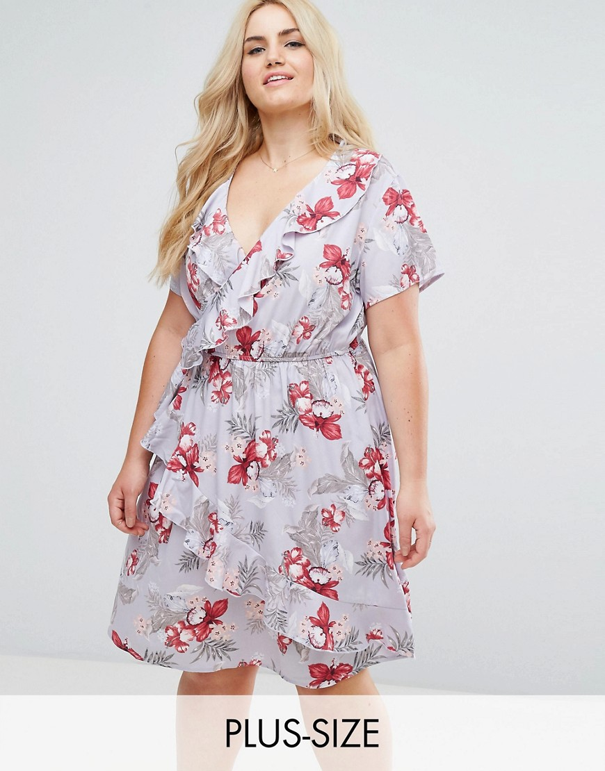 New Look Plus Floral Ruffle Wrap Dress - Blue