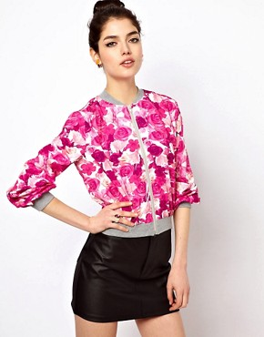 Image 1 ofPaprika Floral Print Bomber Jacket