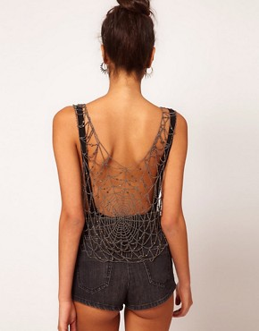 Image 2 ofASOS Top With Allover Cobweb Embellishment