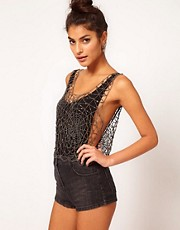 ASOS Top With Allover Cobweb Embellishment