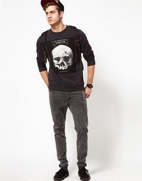 Image 4 of ASOS Sweatshirt With Skull Print