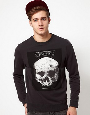 Image 1 of ASOS Sweatshirt With Skull Print
