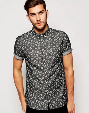 ASOS Denim Shirt In Short Sleeve With Paisley Print Co-Ord