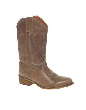 Image 1 ofASOS AGNES Leather Cowboy Boots