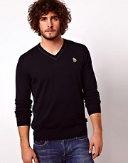 Paul Smith Jeans Jumper in V Neck with Zebra