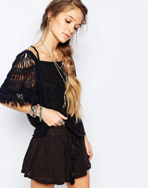 Free People Blackbird Knit Top in Indigo