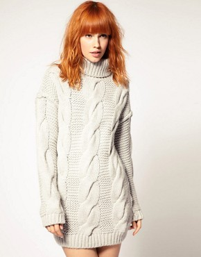 Image 1 ofDiesel Cable Knit Jumper Dress