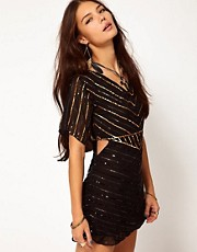 One Teaspoon Heros Sequinned Dress with Cut Out Side Detail