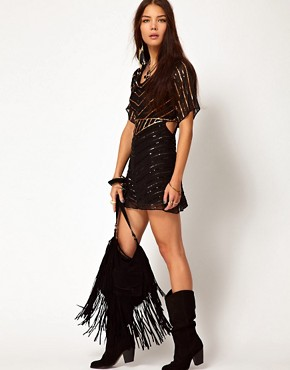 Image 4 ofOne Teaspoon Heros Sequinned Dress with Cut Out Side Detail