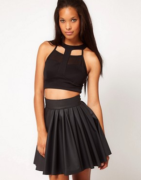 Image 1 ofASOS Crop Top with Harness Mesh Panel