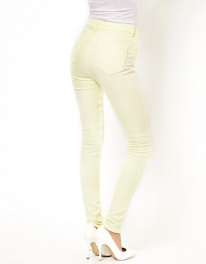 Image 2 ofASOS Ridley Supersoft High Waisted Ultra Skinny Jeans in Lemon