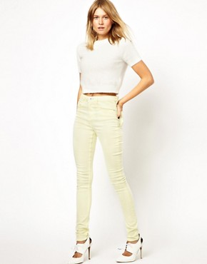 Image 4 ofASOS Ridley Supersoft High Waisted Ultra Skinny Jeans in Lemon