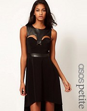 ASOS PETITE Exclusive Dress With Faux leather Panel And Hi Lo Hem