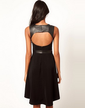 Image 2 ofASOS PETITE Exclusive Dress With Faux leather Panel And Hi Lo Hem