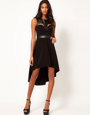 Image 4 ofASOS PETITE Exclusive Dress With Faux leather Panel And Hi Lo Hem