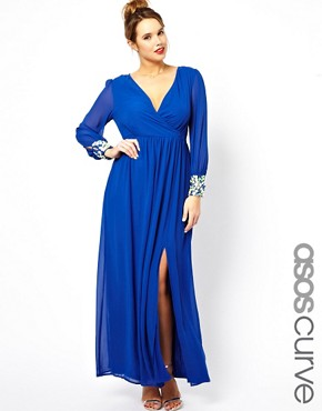 Image 1 of ASOS CURVE Exclusive Salon Maxi Dress With Deep Embellished Cuff