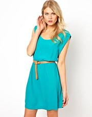 Mango Embossed Belt Dress