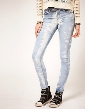 Image 1 ofASOS Skinny Jeans in Ice Tie Dye #4