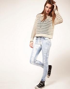 Image 4 ofASOS Skinny Jeans in Ice Tie Dye #4