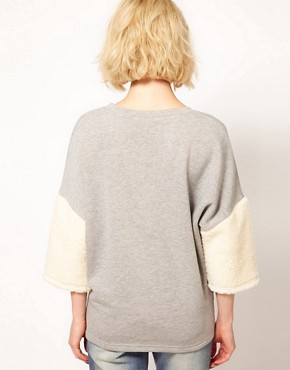 Image 2 ofASOS Sweatshirt with Fur Panel Sleeves