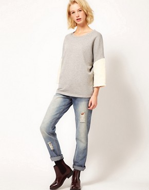 Image 4 ofASOS Sweatshirt with Fur Panel Sleeves