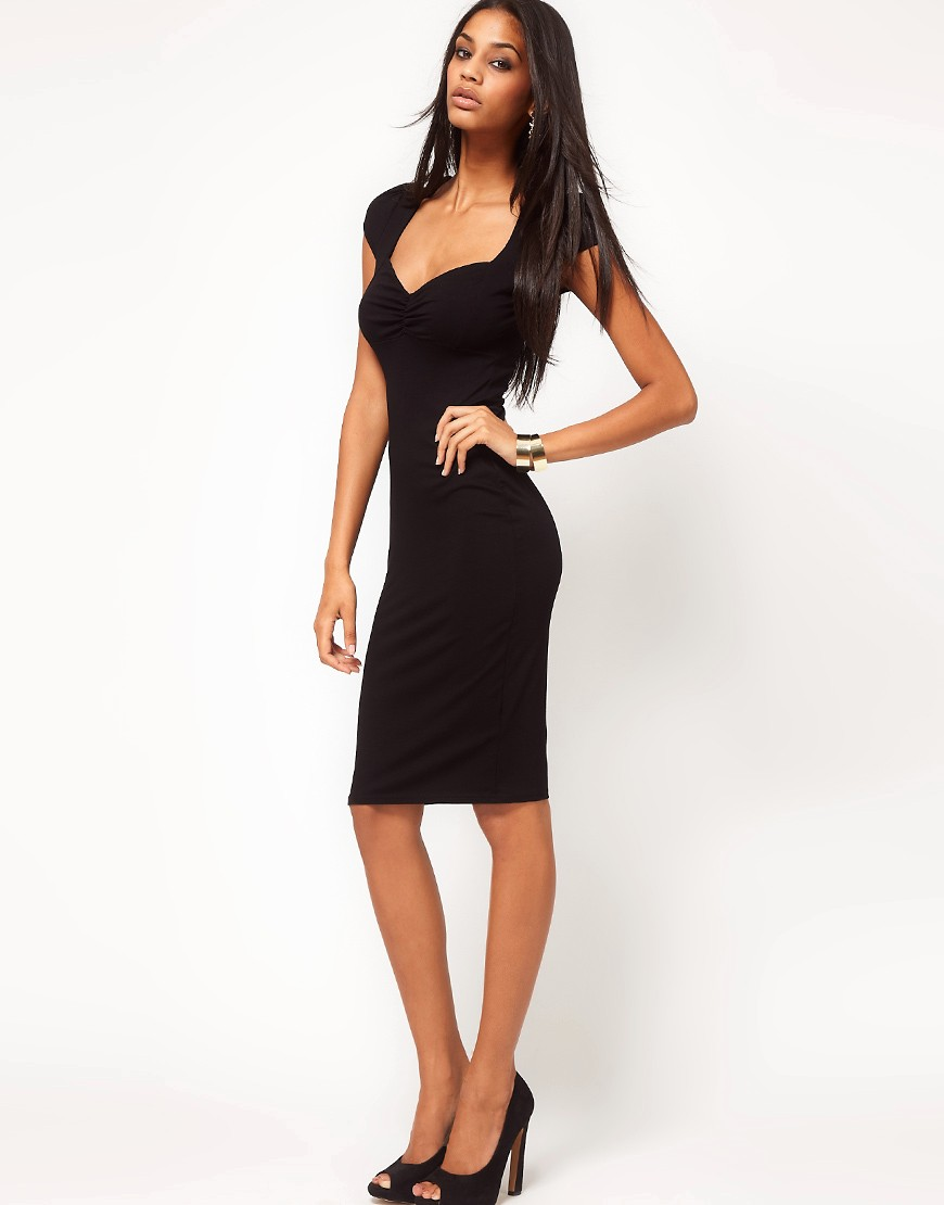 Image 4 of ASOS Midi Bodycon Dress With Ruched Bust