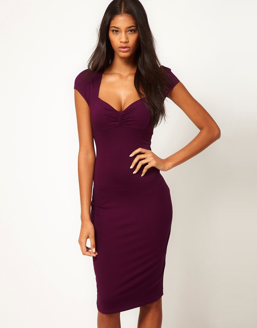 Image 1 of ASOS Midi Bodycon Dress With Ruched Bust
