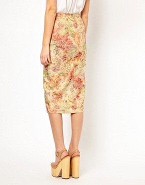Image 2 ofASOS Pencil Skirt in Floral Jacquard