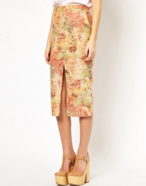 Image 4 ofASOS Pencil Skirt in Floral Jacquard