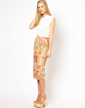 Image 1 ofASOS Pencil Skirt in Floral Jacquard