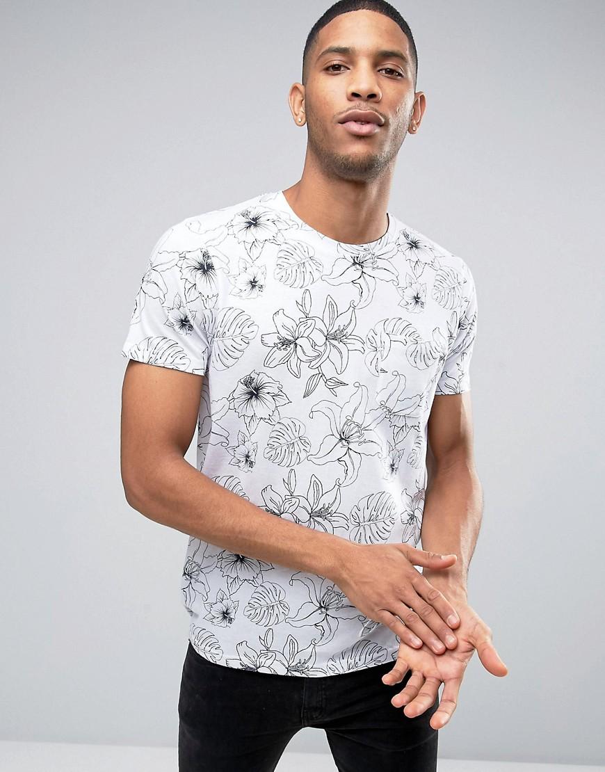 Brave Soul Tropical Print T-Shirt - Blue