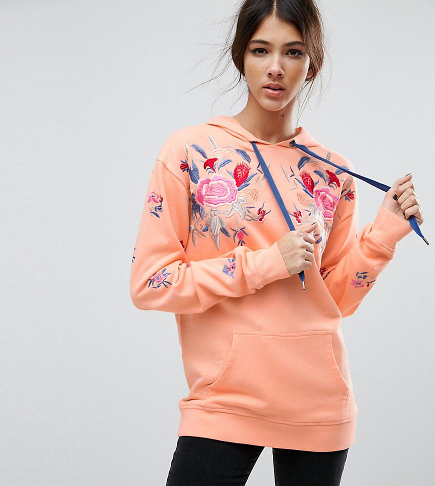 ASOS TALL Hoodie with Floral Embroidery - Pink