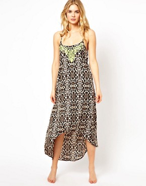 Image 1 ofRiver Island Luffield Animal Maxi Beach Dress