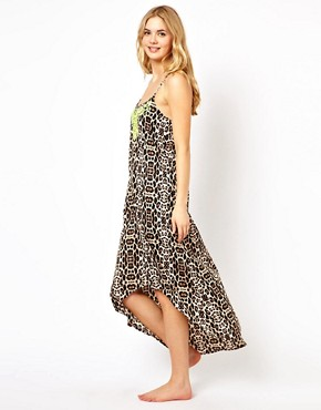 Image 4 ofRiver Island Luffield Animal Maxi Beach Dress