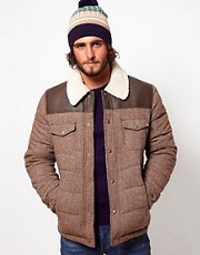 ASOS Quilted Jacket With PU Yoke