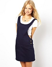 ASOS Denim Pinafore Dress in Dark Navy