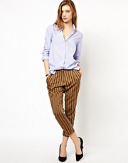 Les Prairies De Paris Pressman Pants in Stripe with Popper Detail to Leg