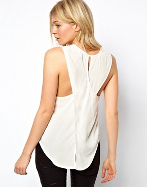 Image 2 ofASOS PETITE Exclusive Cross Back Pocket Top