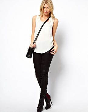 Image 4 ofASOS PETITE Exclusive Cross Back Pocket Top