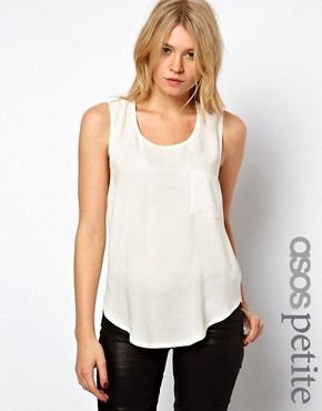 Image 1 ofASOS PETITE Exclusive Cross Back Pocket Top