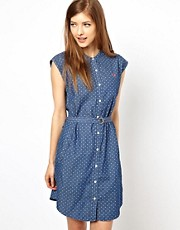 Fred Perry Polka Dot Grandad Collar Shirt Dress