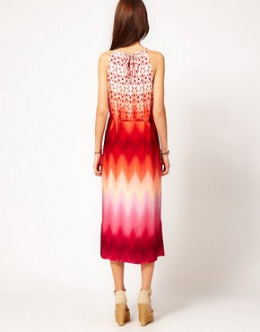 Image 2 ofWarehouse Zig Zag Ombre Halter Dress
