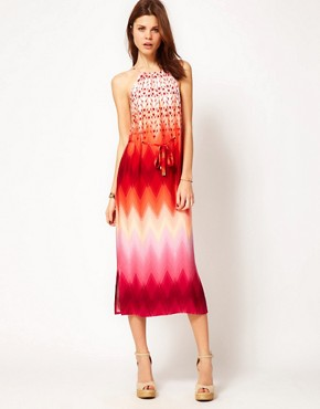Image 1 ofWarehouse Zig Zag Ombre Halter Dress