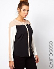 ASOS CURVE Exclusive Shirt In Colourblock