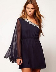 The Style One Shoulder Dress With Embellishment