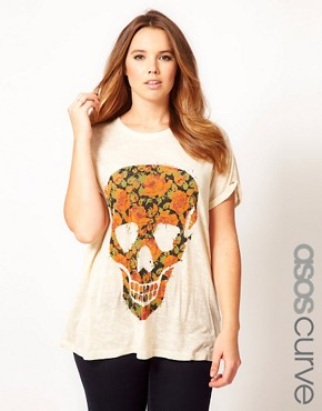 Image 1 of ASOS CURVE T-Shirt With Floral Skull